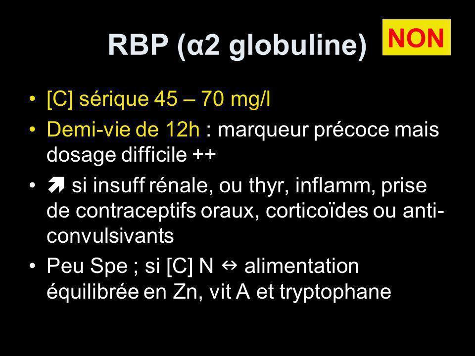 RBP (α2 globuline) NON [C] sérique 45 – 70 mg/l